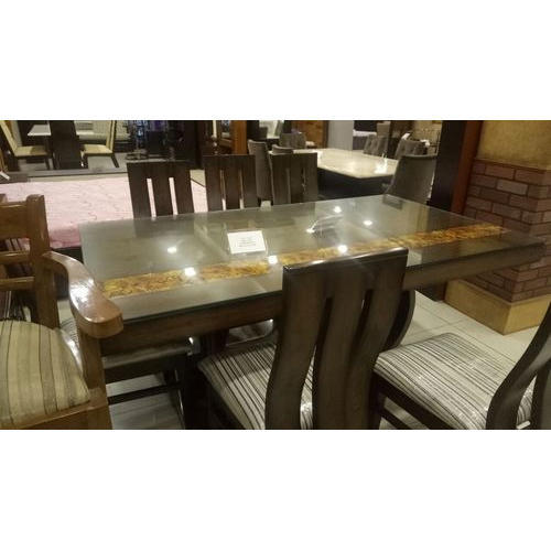 Brown Glass Dining Table Set