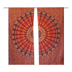 Indian Mandala Printed Cotton Wall Decor Tapestry Curtain