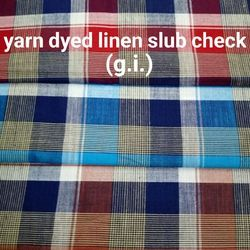 Yarn Dyed Linen Slub Check Fabric (G.I.)