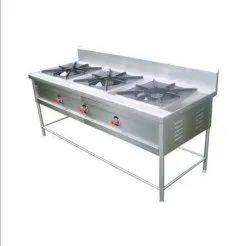 Stainless Steel 3 Burner Cooking Range