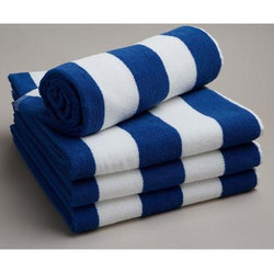 White And Blue Cotton Soft Bath Towel