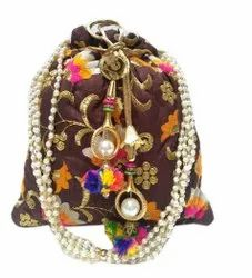Multicolor Embroidered Embroidery Work Potli Hand Purse