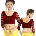 Abhi Stretchable Blended Fabric Blouse with Three Quarter Sleeves