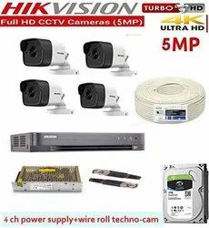 Analog 5 MP HIKVISION Ultra HD 5MP Cameras Combo KIT 4CH HD DVR for Outdoor Use