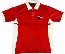 Red and White Cut & Sew Polo T-shirt