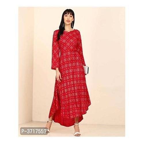 Ladies Red A-Line Ethnic Rayon Gown