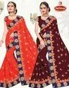 Dyed Georgette Heavy Embroidered work Saree with Lace - Moon Light