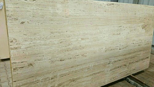Golden Polished Finish Beige Traventine Marble Slabs, for Walls, Thickness: 18 mm