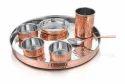 Copper Steel Hammered Thali Set