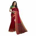 Red Color Chanderi Banarasi Cotton Weaving Sari With Blouse Piece