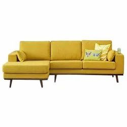 Yellow Color L Shape Sofa Set