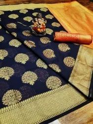 Soft Cotton Silk Saree with Contrast Blouse