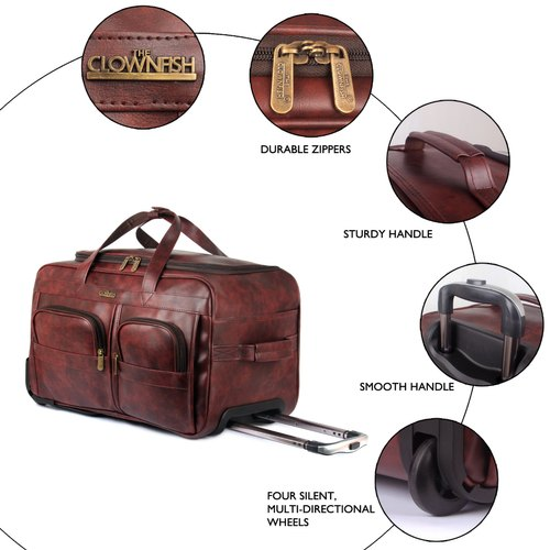 183c47c6a312 The Clownfish Cruiser 45 Liters Faux Leather Travel Duffel Trolley Bag With  Wheels (Wine Red