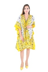 Yellow Cotton Wear Poncho Fashionable Kaftan