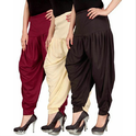 Stylish Dhoti Pants Combo Of 3 Cream, Red And Brown