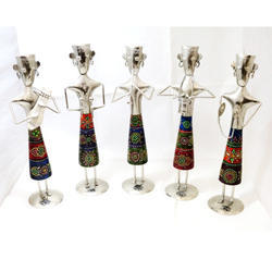 Metal & Wooden 5 Piece Musucion Doll Standing Figure