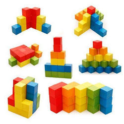 Colored Wooden Building Blocks 100 pcs - (1TNG123) - Puzzle Game