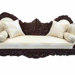 Leather Fabric Brown and Cream Rajwadi Sofa Set