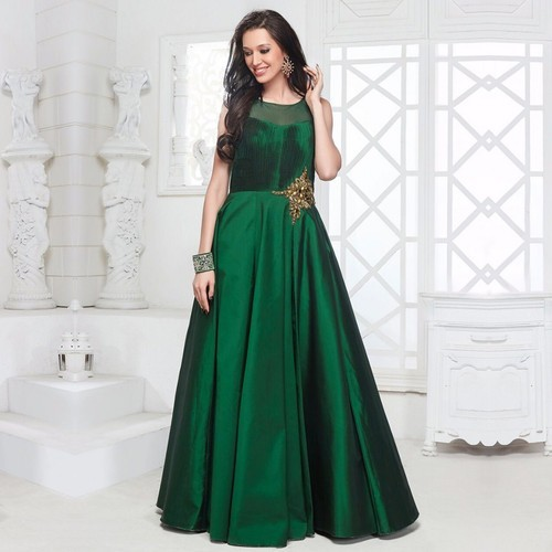 a11824c8313c Silk Plain Party Wear Indo Western Gown