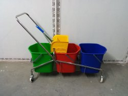 Imported Stainless Steel Three In One Mop Wringer Trolley, For Hospitals, Bucket Capacity: 20+20+20