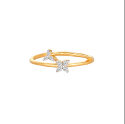 609e313eb Tanishq 18KT Yellow Gold Diamond Floral Finger Ring, Rs 18785 /piece ...