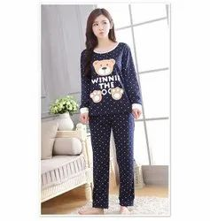 Women''s Cotton Pyjama Set Top & Pants Print - Blue Point Bear