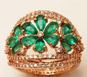 Diamond and Emeralds Floral Set Ladies Gold Ring