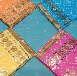 Unstitch Unstitched Pure Cotton Print Gotta Patti Suit With Jaipuri Dupatta, Machine Wash