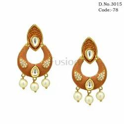 Meenakari Kundan Chandbali Earrings