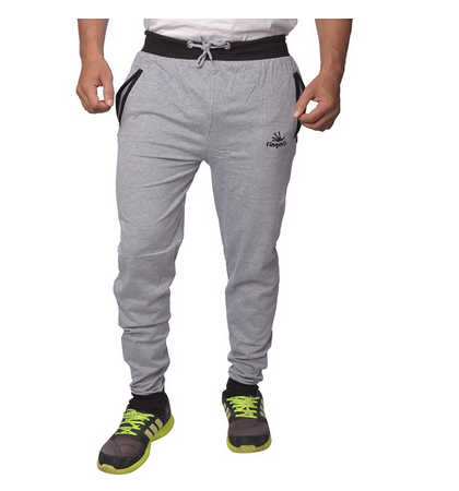95a4c0476380 Mens Cotton Track Pants With Zipper Pockets (Grey-Black) at Rs 499 ...