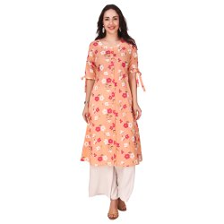 Orange Color Printed A Line Kurta For Women & Girls