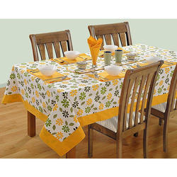 Swayam Printed Cotton Four Seater Table Sheet - Yellow