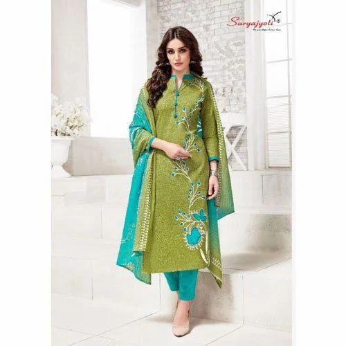 75b034b7fc Party Wear Cotton Suryajyoti Ladies Printed Churidar Suit, Rs 150 ...