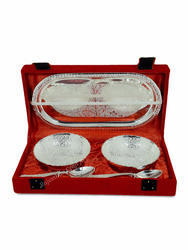 Rajasthan Craft Art Silver Aluminium Bowl Set, Size: 3.5 Inch Height