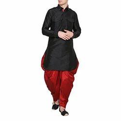 Black, Red Silk Mens Kurta Pajama