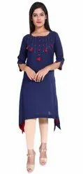 Yash Gallery Women's Cotton Straight Asymmetric Kurta