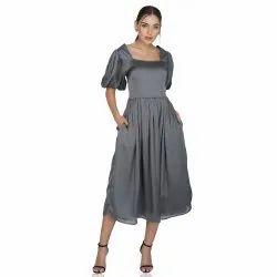 Plain Stitch Evening Wear Grey Satin Midi