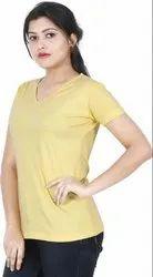 Stylish Looks Yellow Plain T Shirt