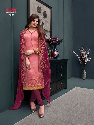 68540c31dc Vipul Silk & Crepe Embroidered Straight Salwar Suit, Rs 1545 /piece ...