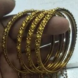 Golden Party Wear 2.4 Inch Metal Bangles