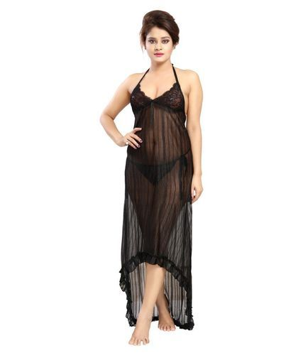 4086310ed Ladies Net Full Length Black One Piece Night Dress, Rs 300 /piece ...