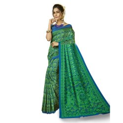 Blue & Green Colored Pashmina Casual Saree