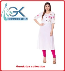 Ladies  White Embroidery Kurti