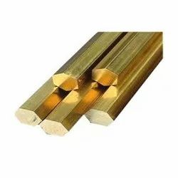 Polished Hot Rolled Brass Hex Rod, Rod Length: 24 Ft
