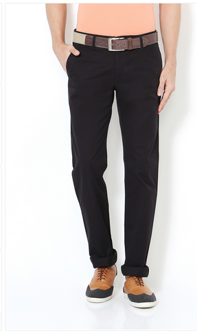 7a0108728f Cotton Flat Trousers Van Heusen Black Trousers