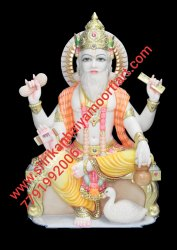 White marble vishwakarma statue
