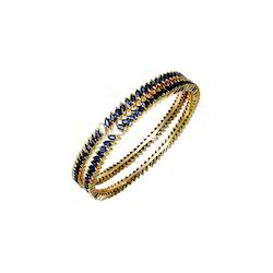 Blue Sapphire Gold Bangles