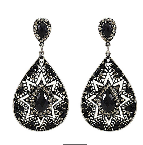 Vintage Charm Black Dangle Earrings For Women