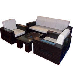 Wooden Tight Back Five Seater Sofa Set
