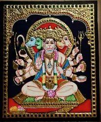 Pancha muga Hanuman Tanjore Painting